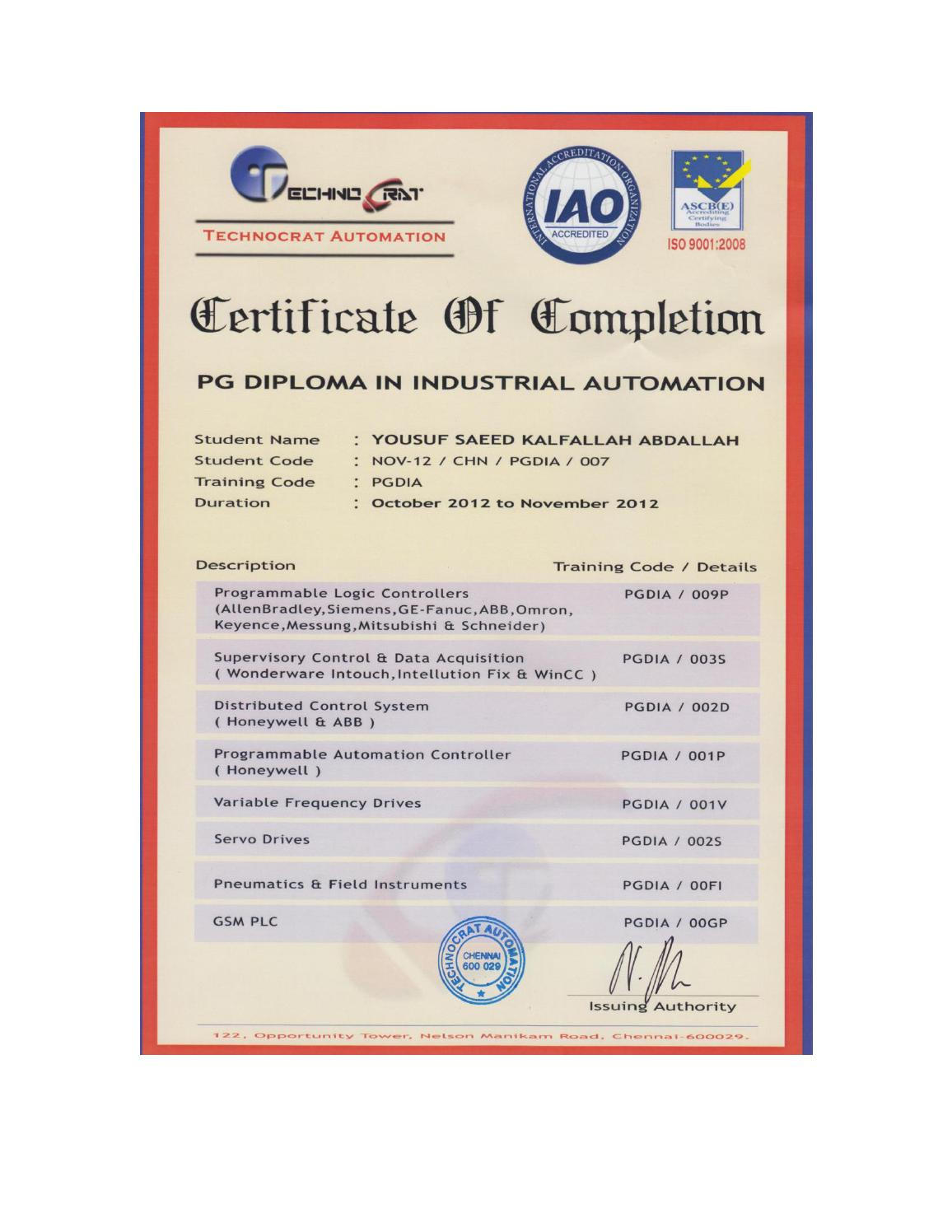 Post graduate diploma in industrial automation by