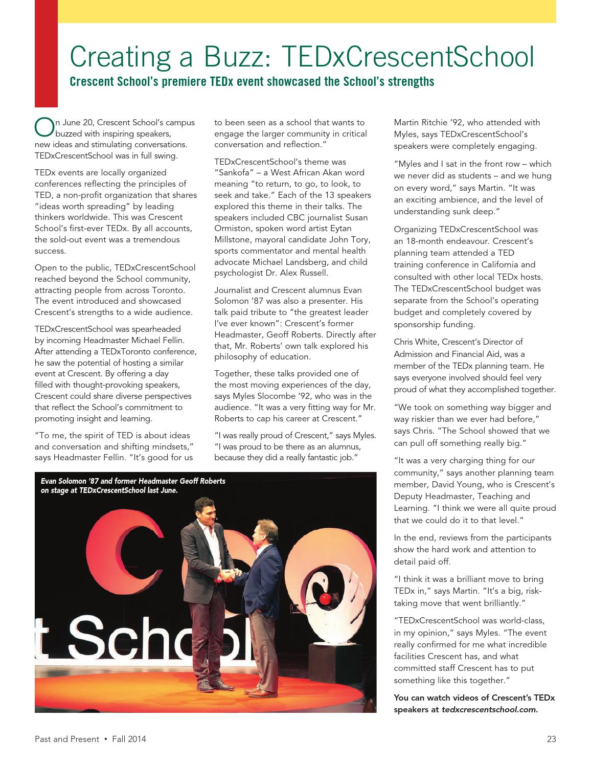 Past Present Fall 2014 By Crescent School Issuu