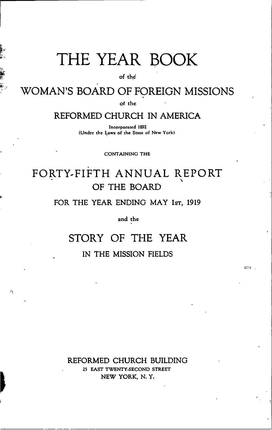 35 Womans Board Of Foreign Missions Rca 1919 By Hope College Van