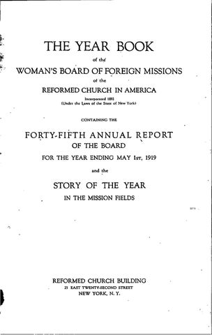 a2337f0a9693 35 womans board of foreign missions rca 1919 by Hope College Library ...
