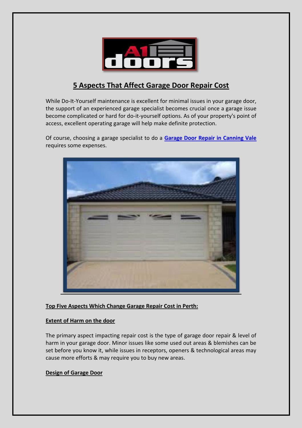 5 Aspects That Affect Garage Door Repair Cost By A1 Doors