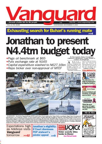 Jonathan To Present N4 4tm Budget Today By Vanguard Media Limited