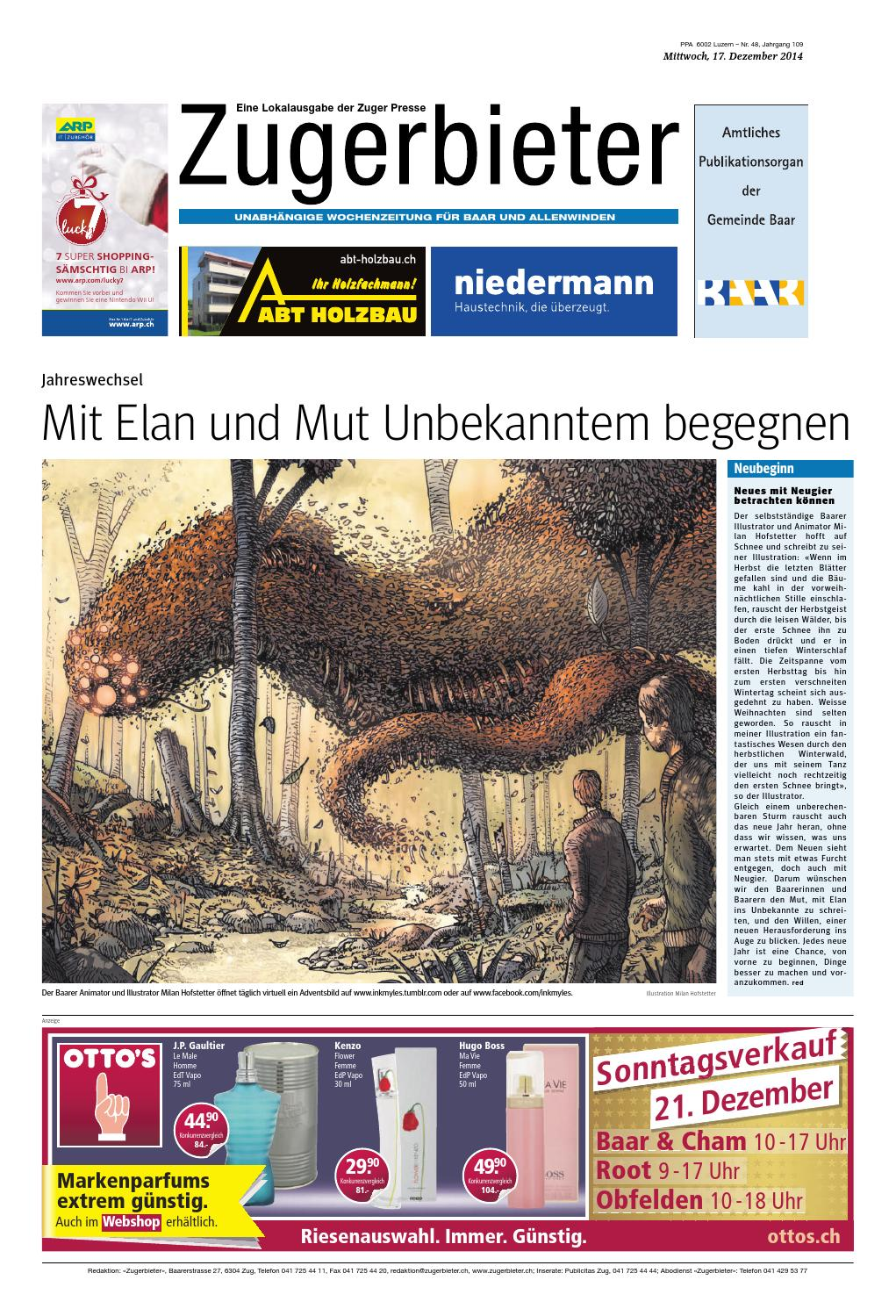 Zugerbieter 20141217 by Zuger Presse - Zugerbieter - issuu
