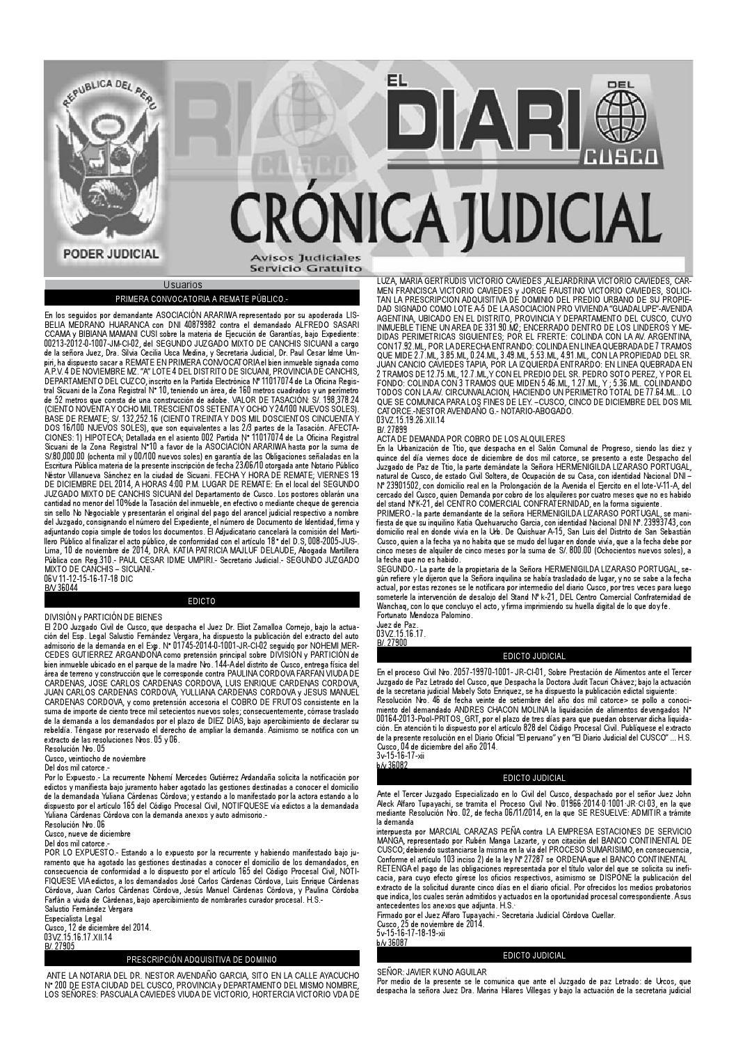 Avisos Judiciales 17 12 14 by El Diario del Cusco - issuu