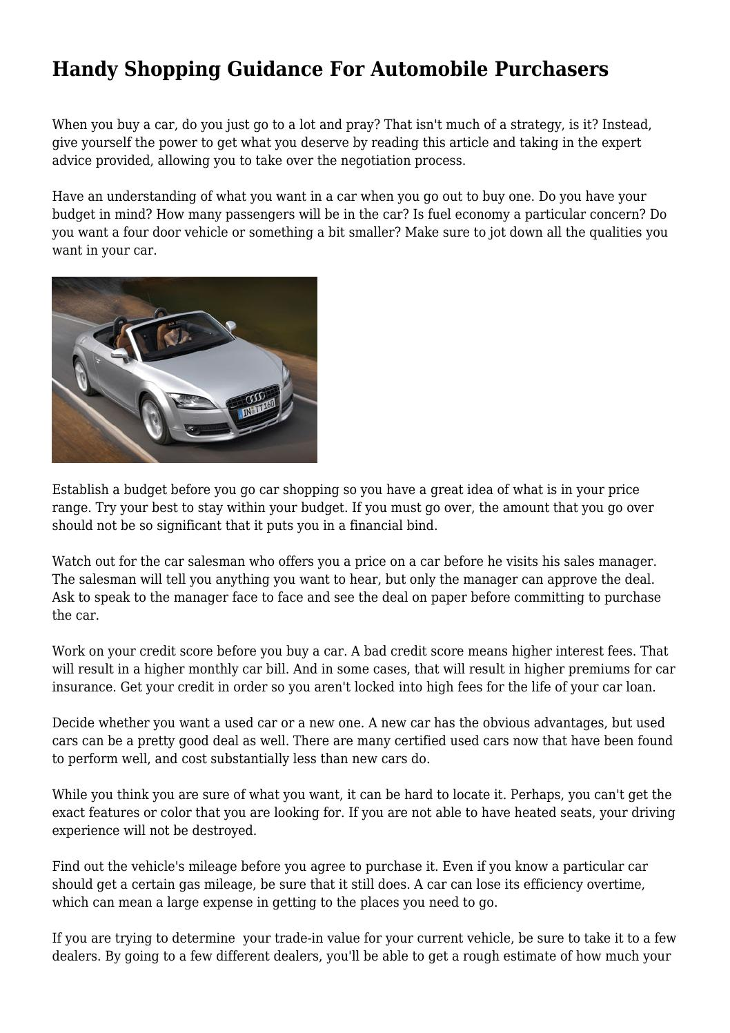 Handy Shopping Guidance For Automobile Purchasers by ...
