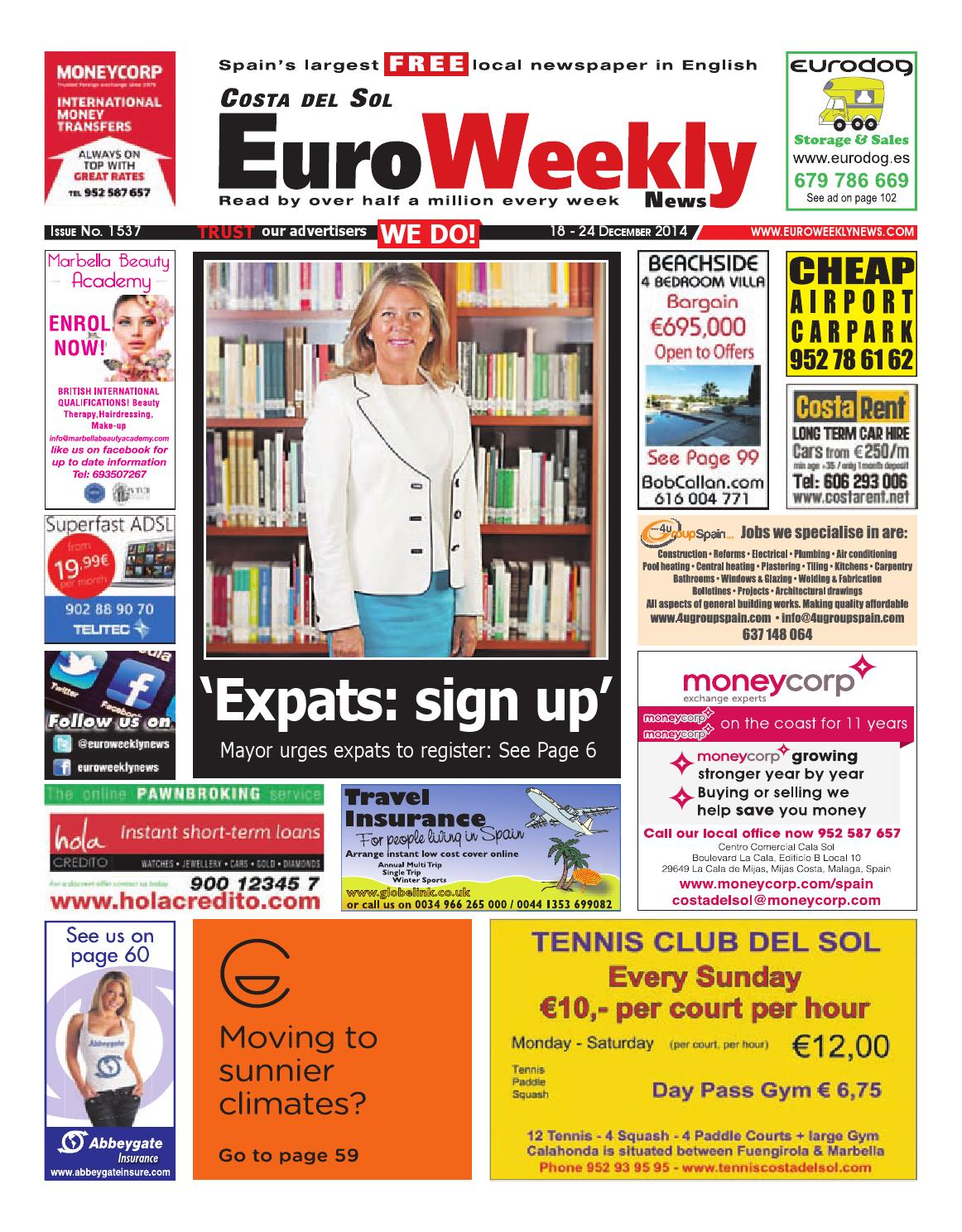 e17a34af2103 Euro Weekly News - Costa del Sol 18 - 24 December 2014 Issue 1537 by Euro  Weekly News Media S.A. - issuu