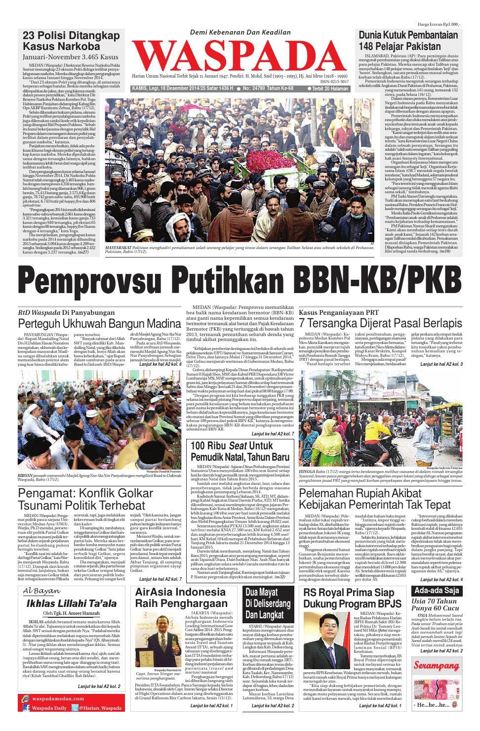Waspada Kamis 18 Desember 2014 By Harian Issuu Produk Ukm Bumn Tas Ransel Threepoint