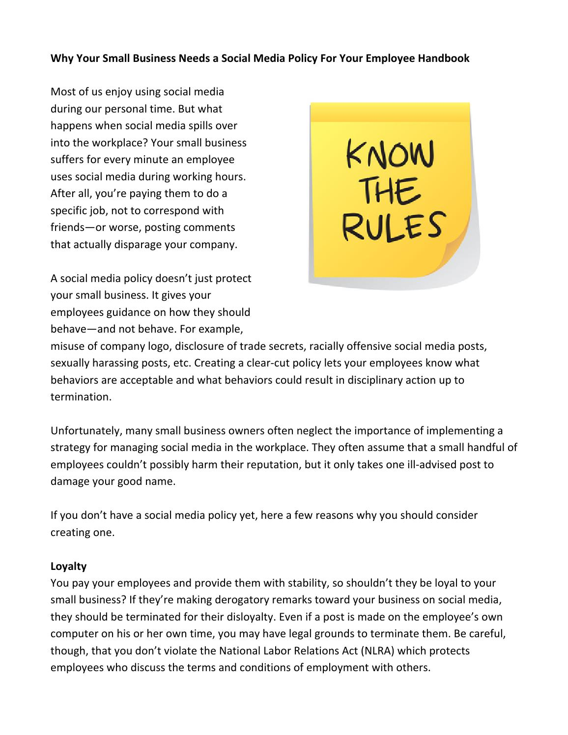 why your small business needs a social media policy for your employee handbook by mjms issuu
