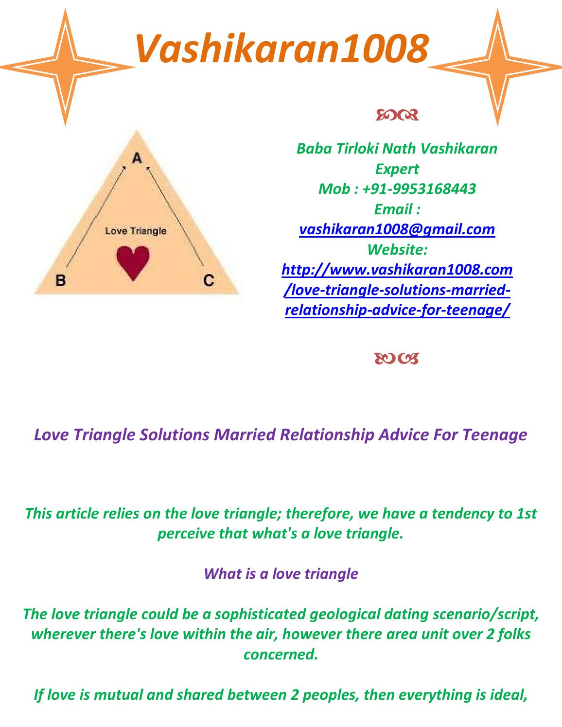 Love Triangle Solutions Married Relationship Advice For Teenage -  +919953168443