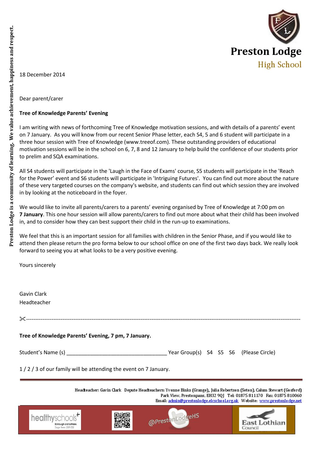 Tree Of Knowledge Parents Evening Letter By Preston Lodge High