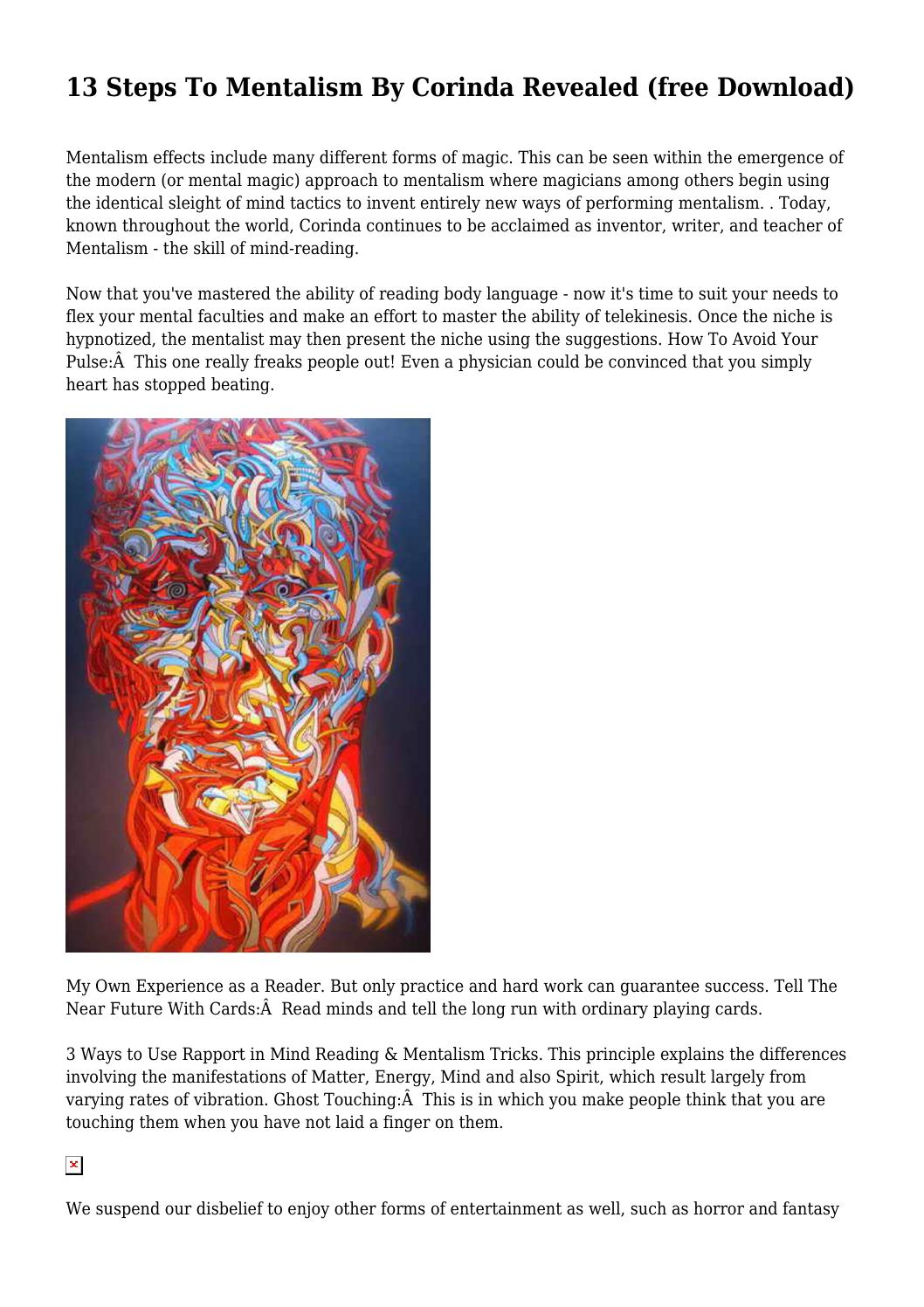 13 steps to mentalism by corinda pdf free download