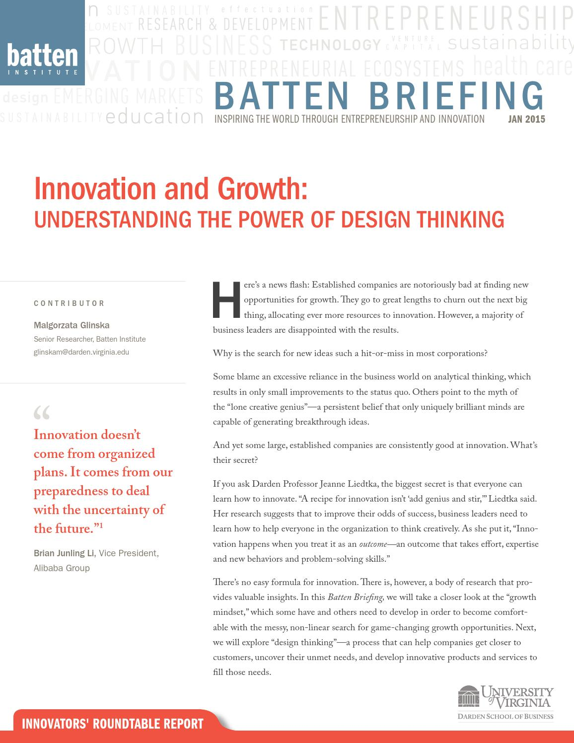 Batten Briefing: Understanding the Power of Design Thinking by ...