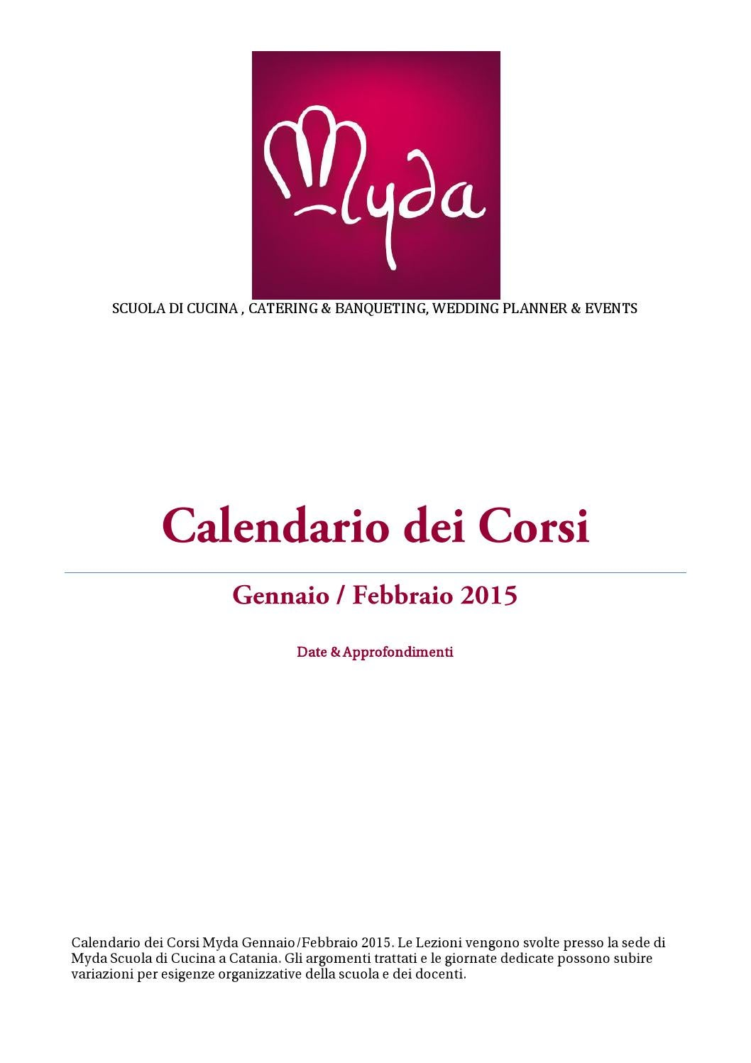Calendario corsi di cucina myda catania gennaio febbraio - Corsi di cucina catania ...
