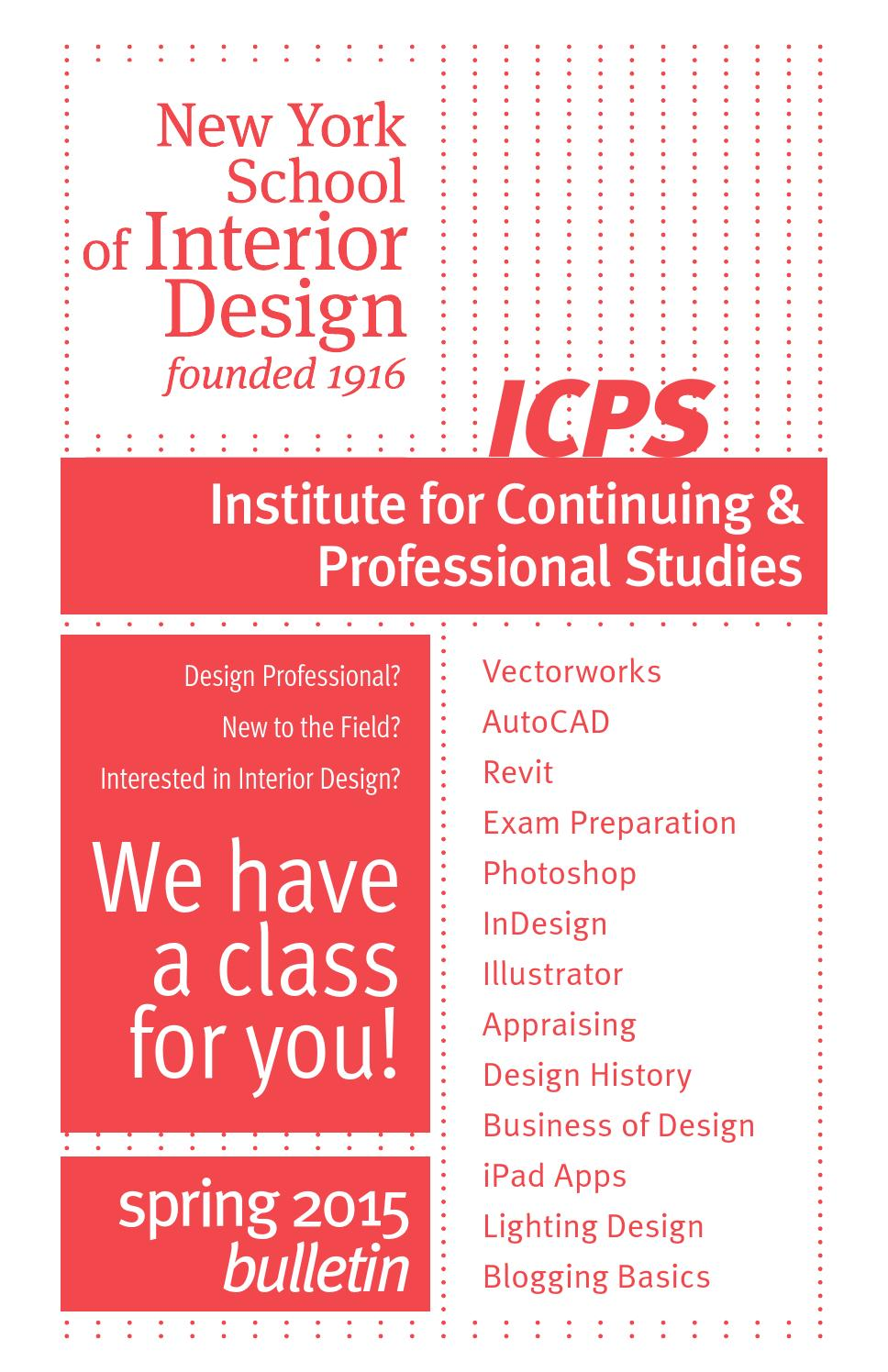 Spring 2015 Continuing Professional Studies By New York School Of Interior Design Issuu