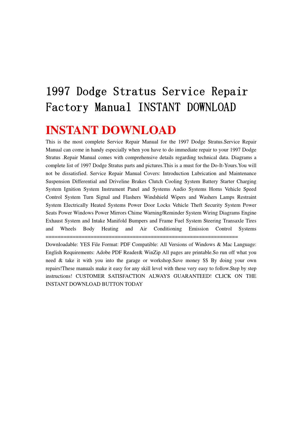 1997 Dodge Stratus Service Repair Factory Manual Instant