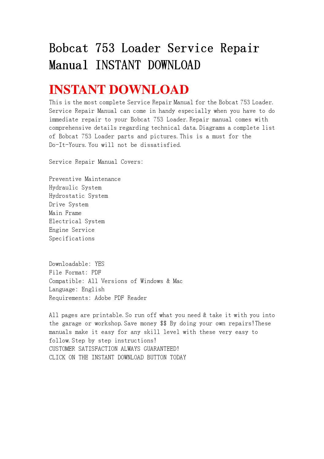Bobcat 753 Loader Service Repair Manual Instant Download