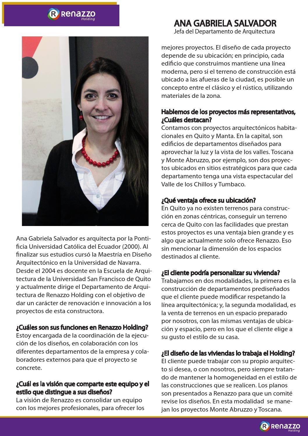 Ana gabriela salvador renazzo holding by addconsulta for Maestria en interiorismo arquitectonico