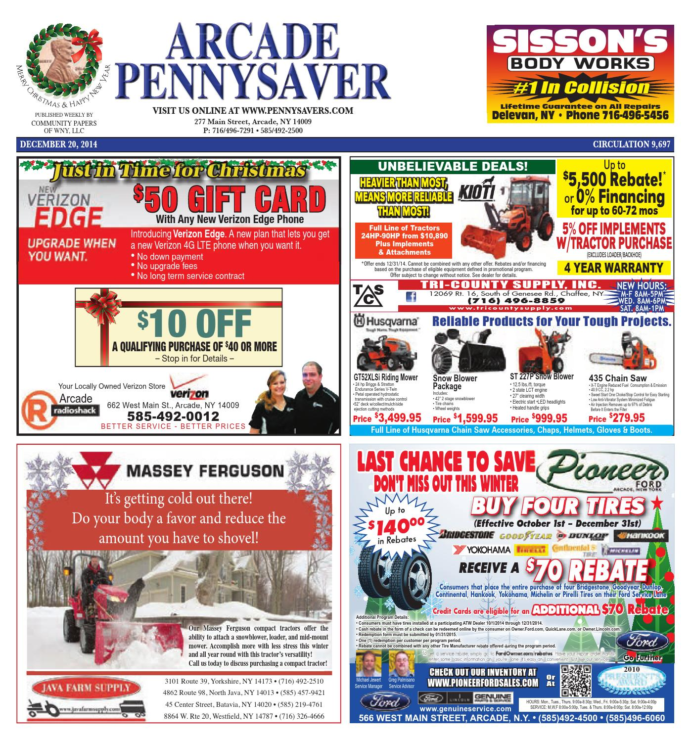 Arcade pennysaver 12 20 2014 by munity Papers of WNY issuu