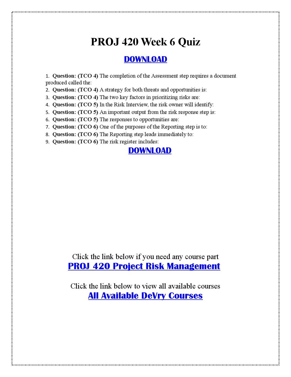 proj 420 summary risk report Bscom 260 week 4 final project organizing for readers $800 rating: a purchased: 4 times.