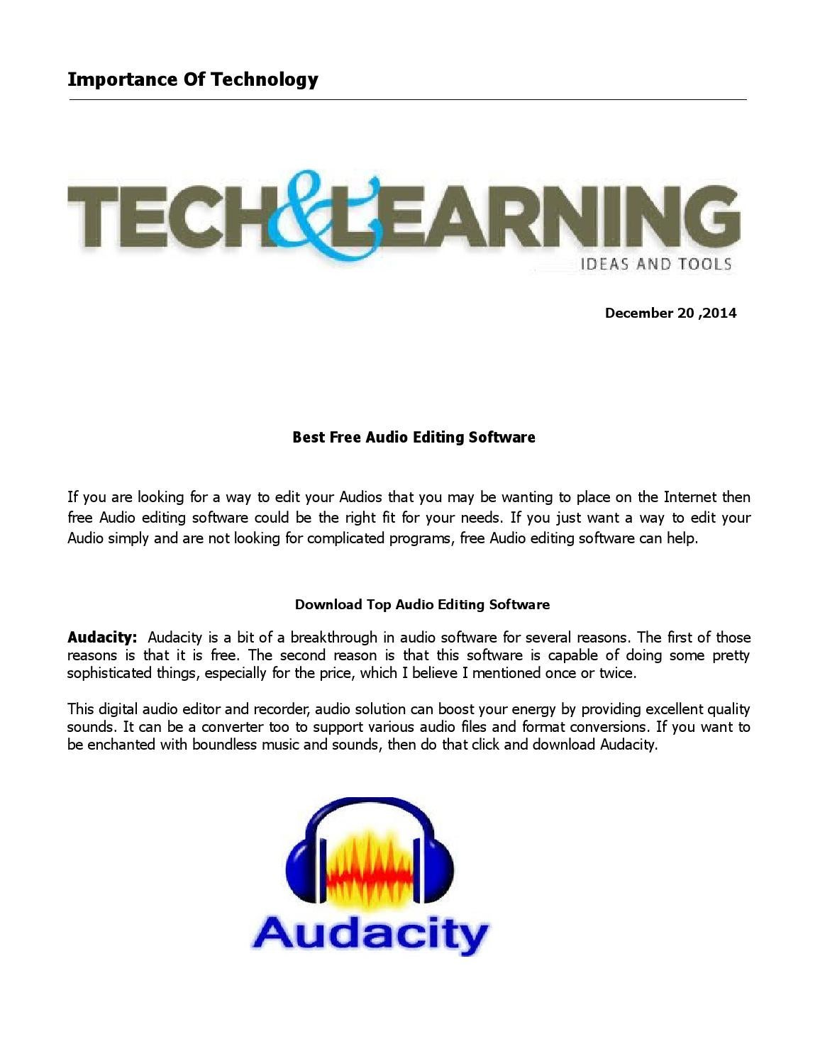 Best Free Audio Editing Software by Importance Of Technology