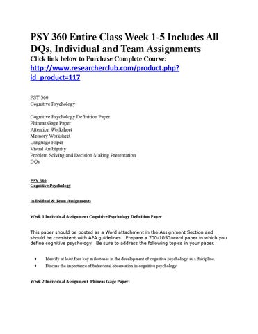 psy 320 week 5 dqs Entire course link  psy 420 week 5 task analysis in this assignment, you will design a task an.