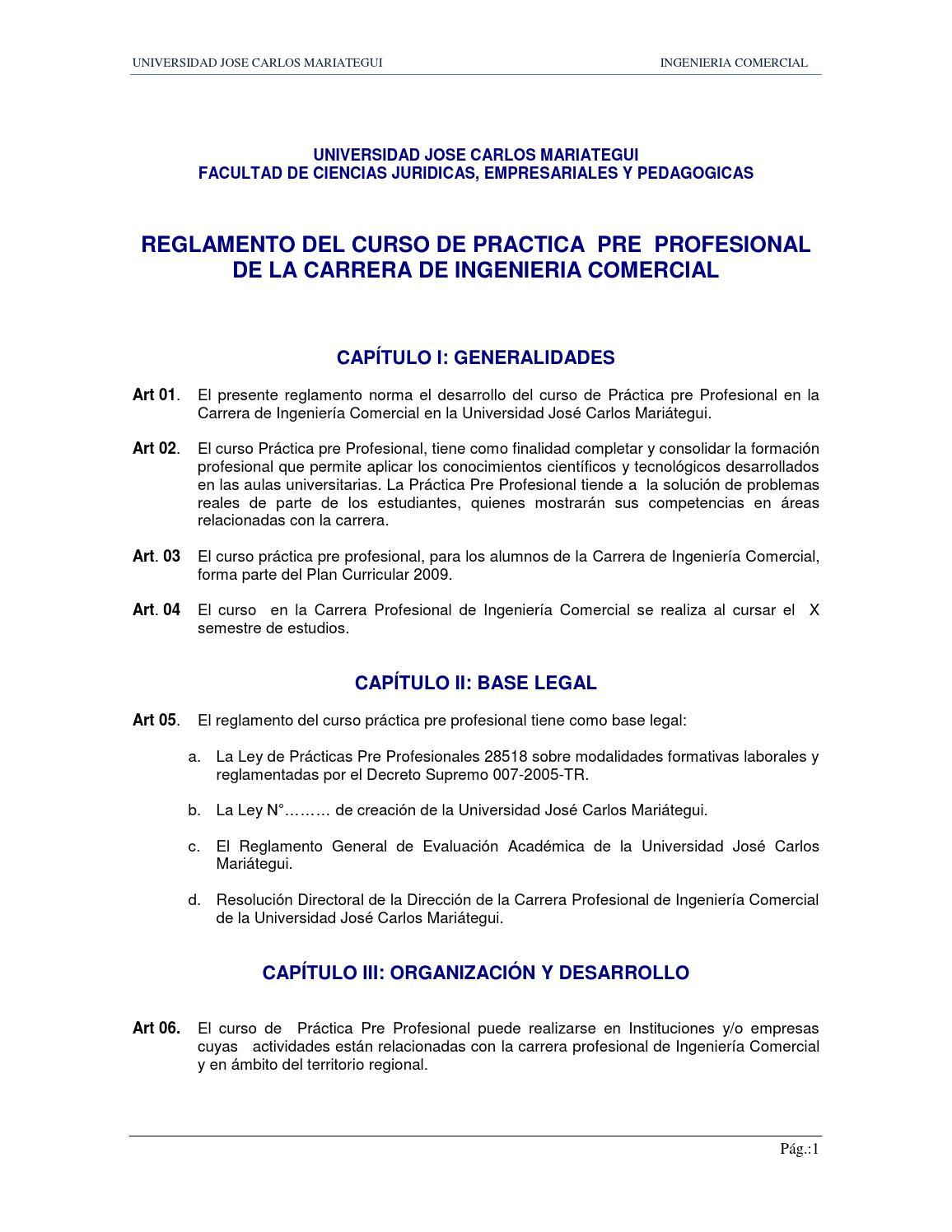 Reglamento practica pre profesional by Gustavo Córdova - issuu
