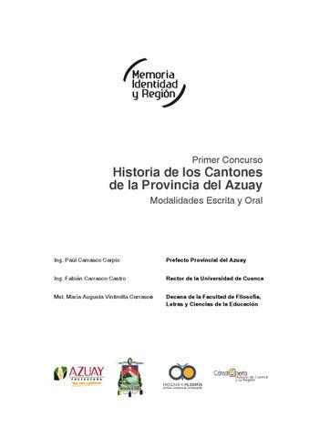 40e19c0d16f1f Historia de los cantones de la provincia del Azuay by Cátedra ...
