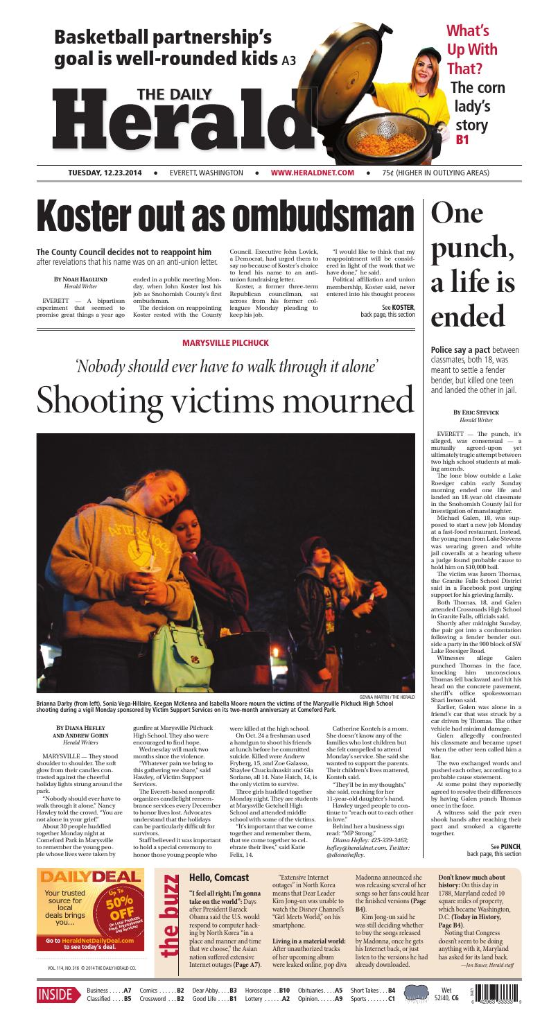 Everett Daily Herald, December 23, 2014 by Sound Publishing