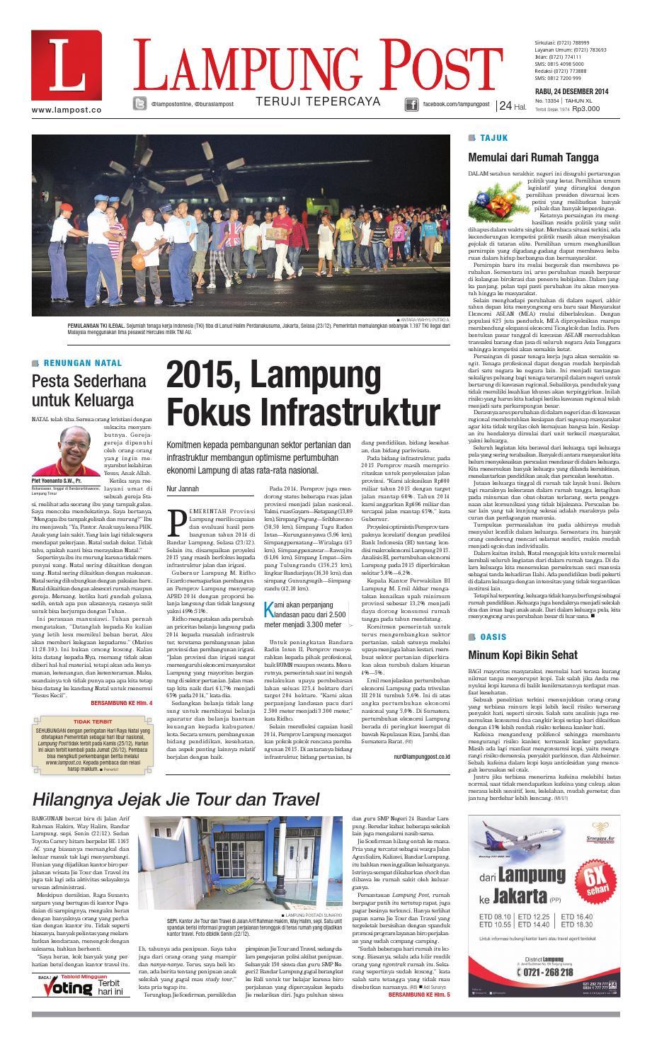 Lampung Post Rabu 24 Desember 2014 By Issuu Kopi Bos Ila Arifin Amr