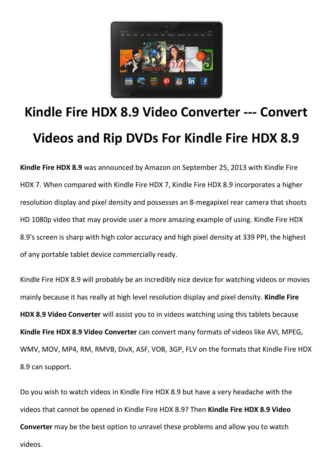 Kindle fire hdx 8 9 video converter by Rick Drolet - issuu
