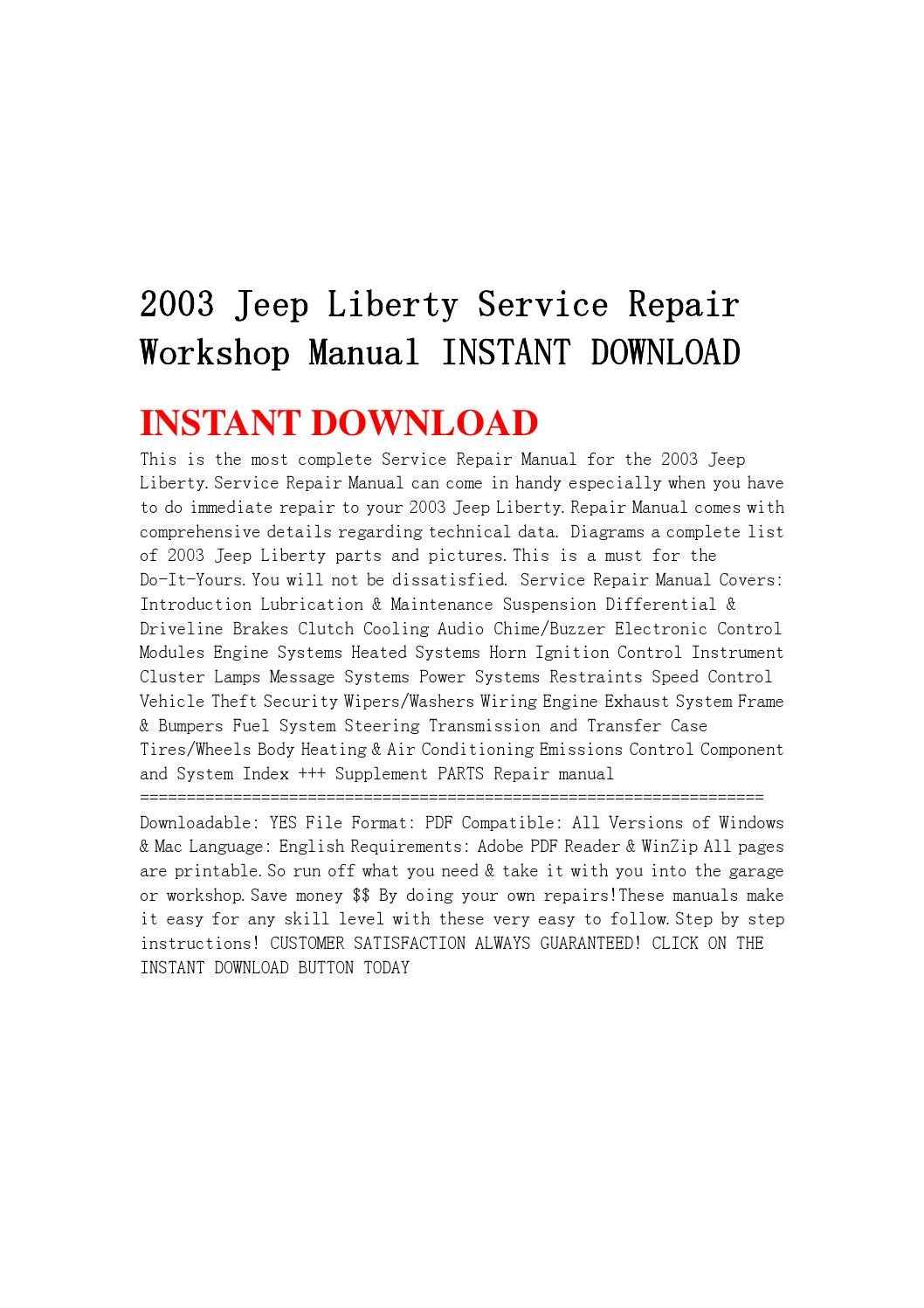 2003 Jeep Liberty Service Repair Workshop Manual Instant Download By Jnshejfmme
