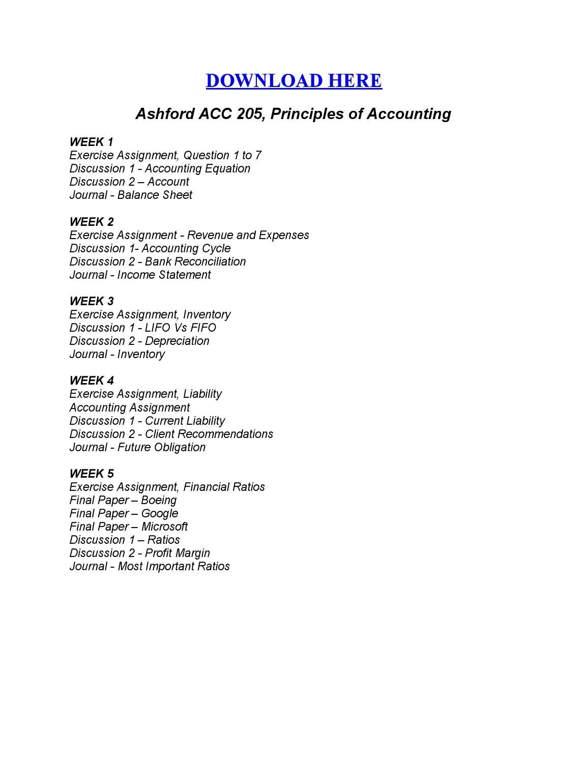 week A pair of acc 205 essay