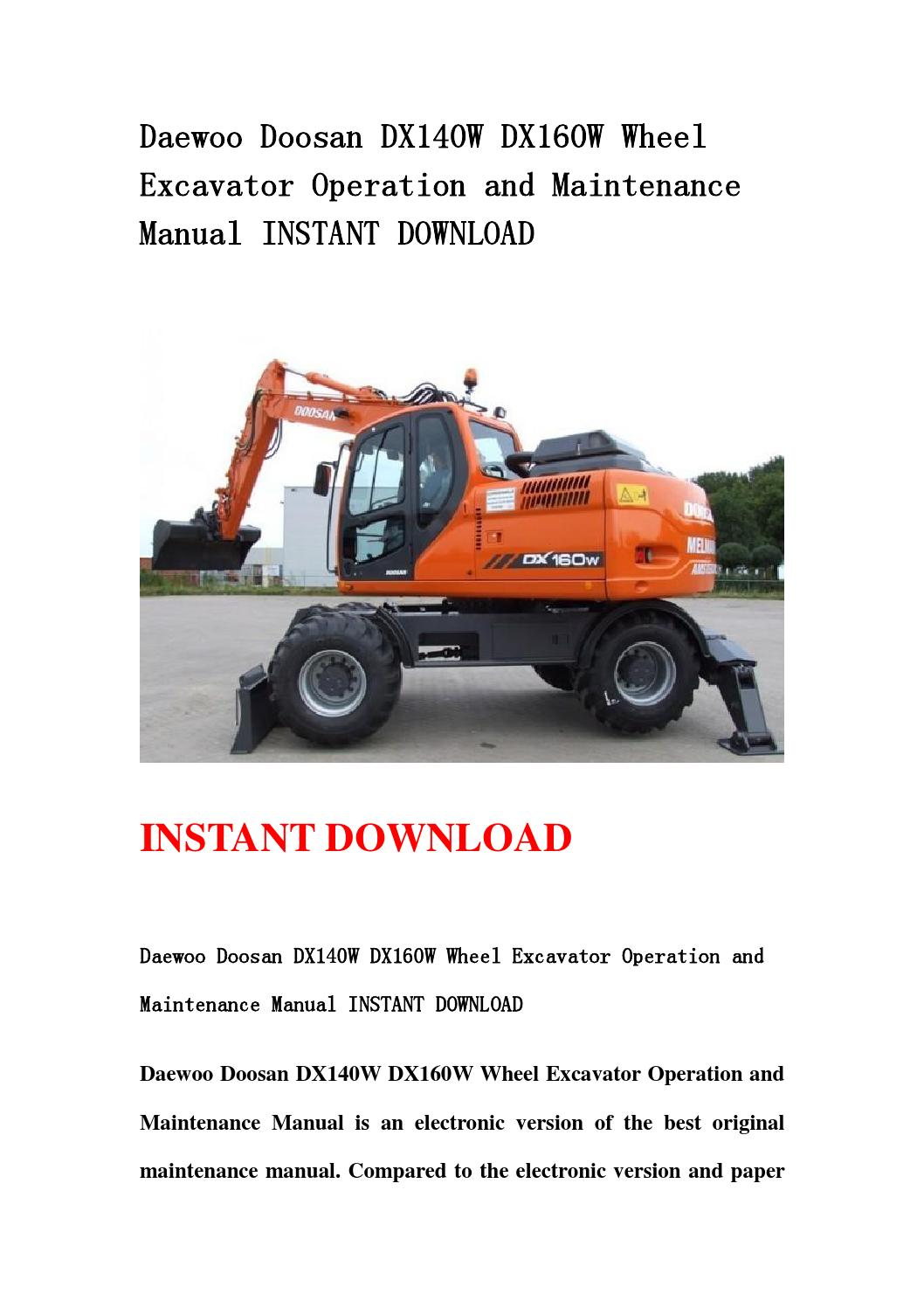 daewoo doosan dx140w dx160w wheel excavator operation and maintenance manual instant download