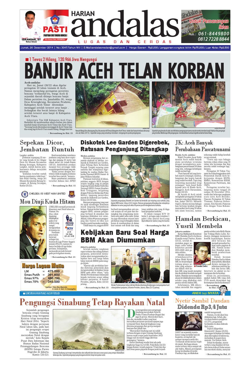 Epaper Andalas Edisi Jumat 26 Desember 2014 By Media Issuu Fcenter Meja Belajar Sd Hk 9004 Sh Jawa Tengah