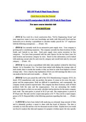 Fi515 week 8 final exam