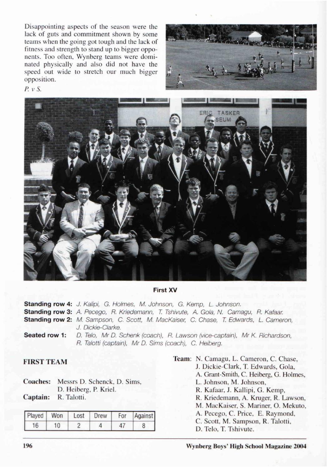 Wynberg Boys' Schools Magazine 2004 by Wynberg Boys' High