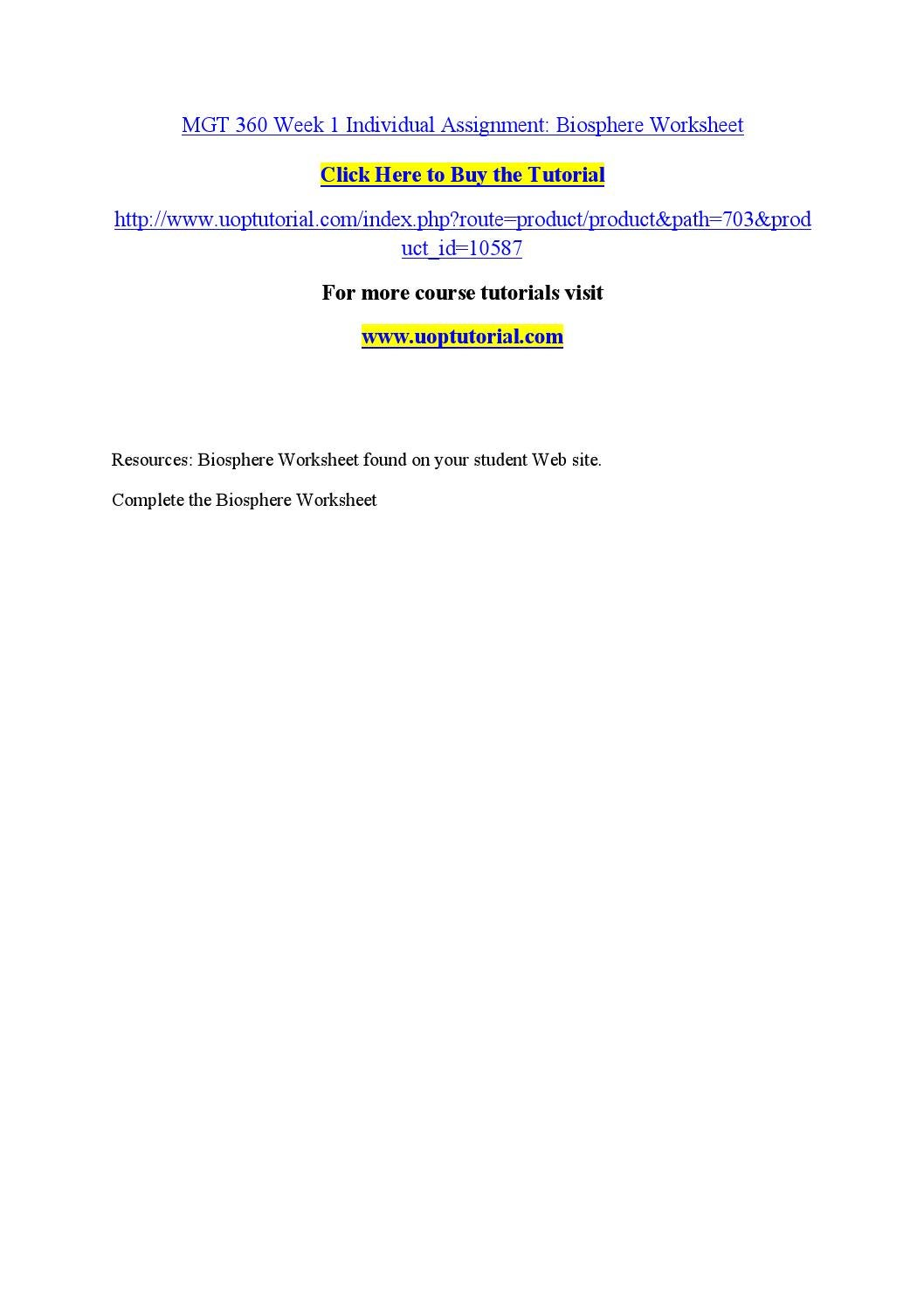 worksheet Biosphere Worksheet mgt 360 week 1 individual assignment biosphere worksheet by manorias1 issuu