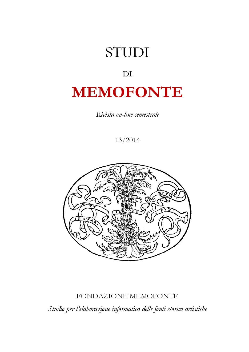 XIII 2014 STUDI DI MEMOFONTE by Fondazione Memofonte Onlus - issuu f1883a1e73b