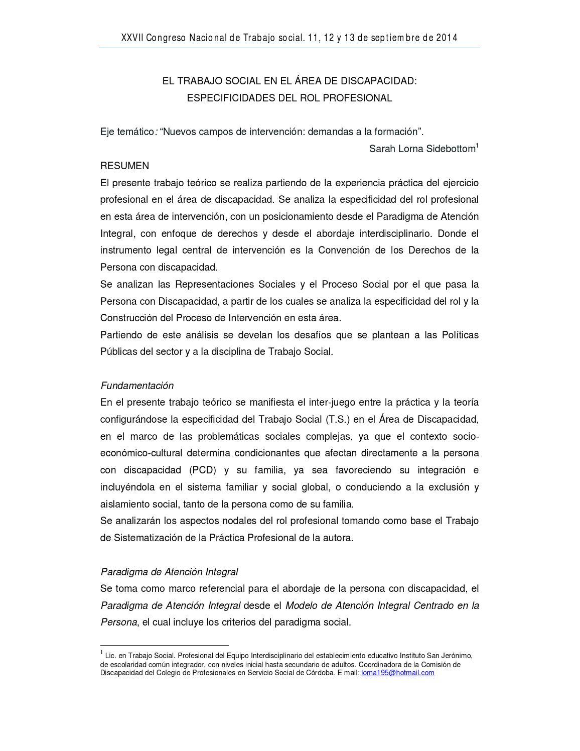 EL TRABAJO SOCIAL EN EL ÁREA DE DISCAPACIDAD: ESPECIFICIDADES DEL ...
