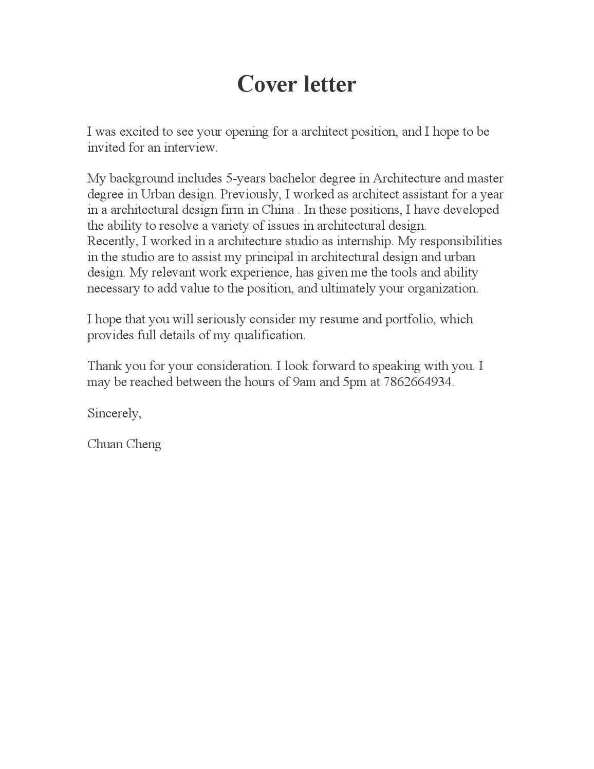 Cover Letter Resume Portfolio By Chuancheng Issuu