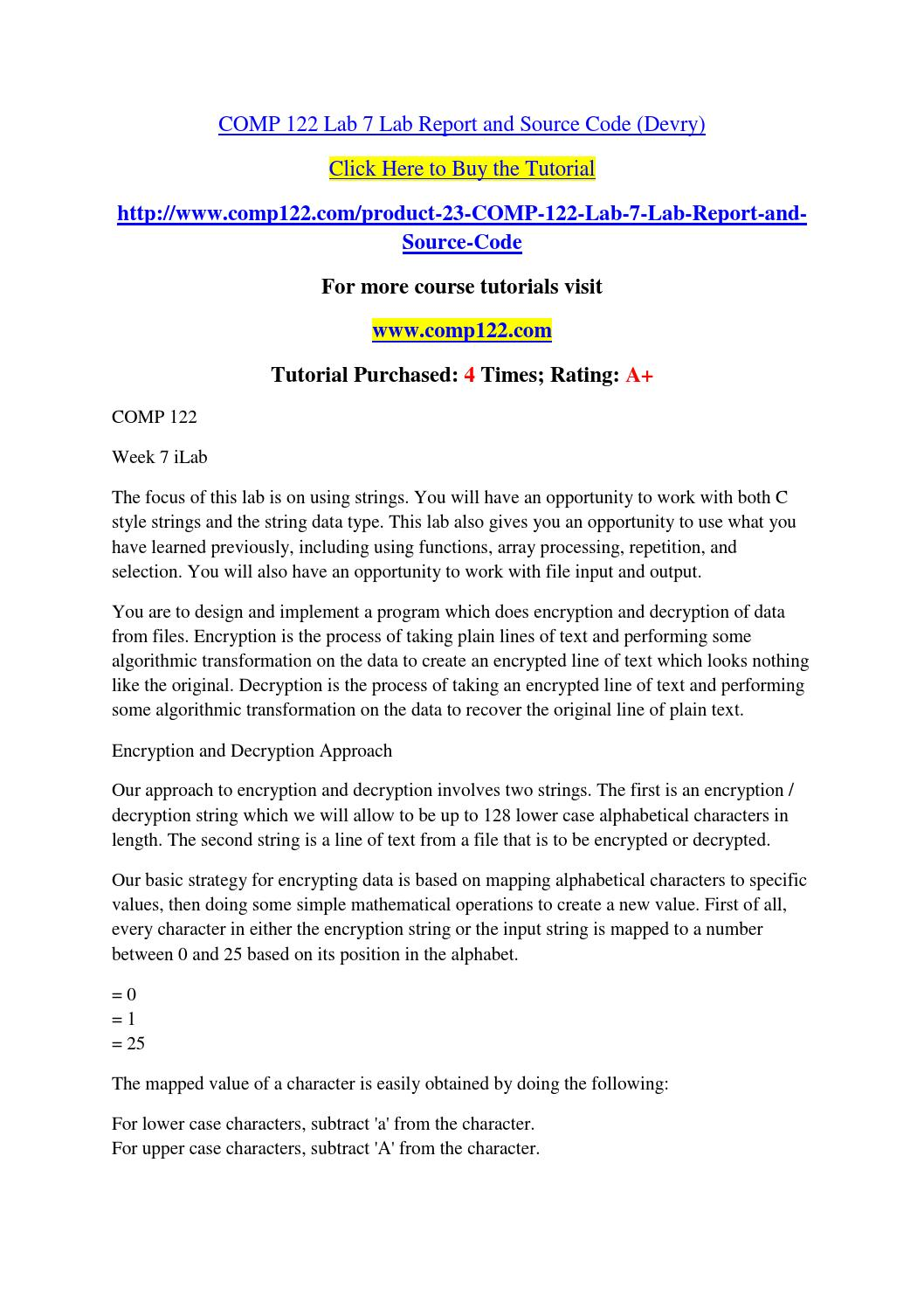 Comp 122 lab 7 lab report and source code (devry)
