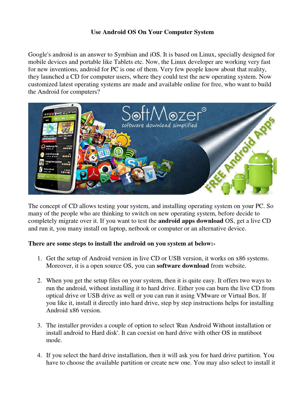 Use android os on your computer system by SoftMozer - issuu