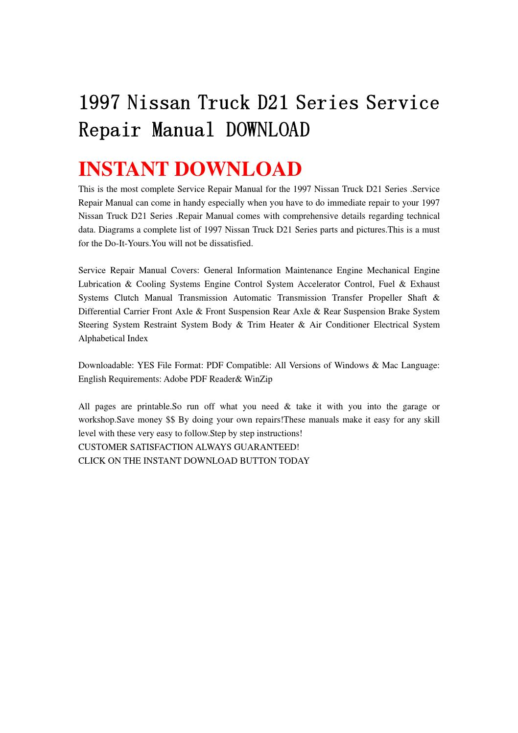1997 nissan truck d21 series service repair manual download by jnshefjsne -  issuu