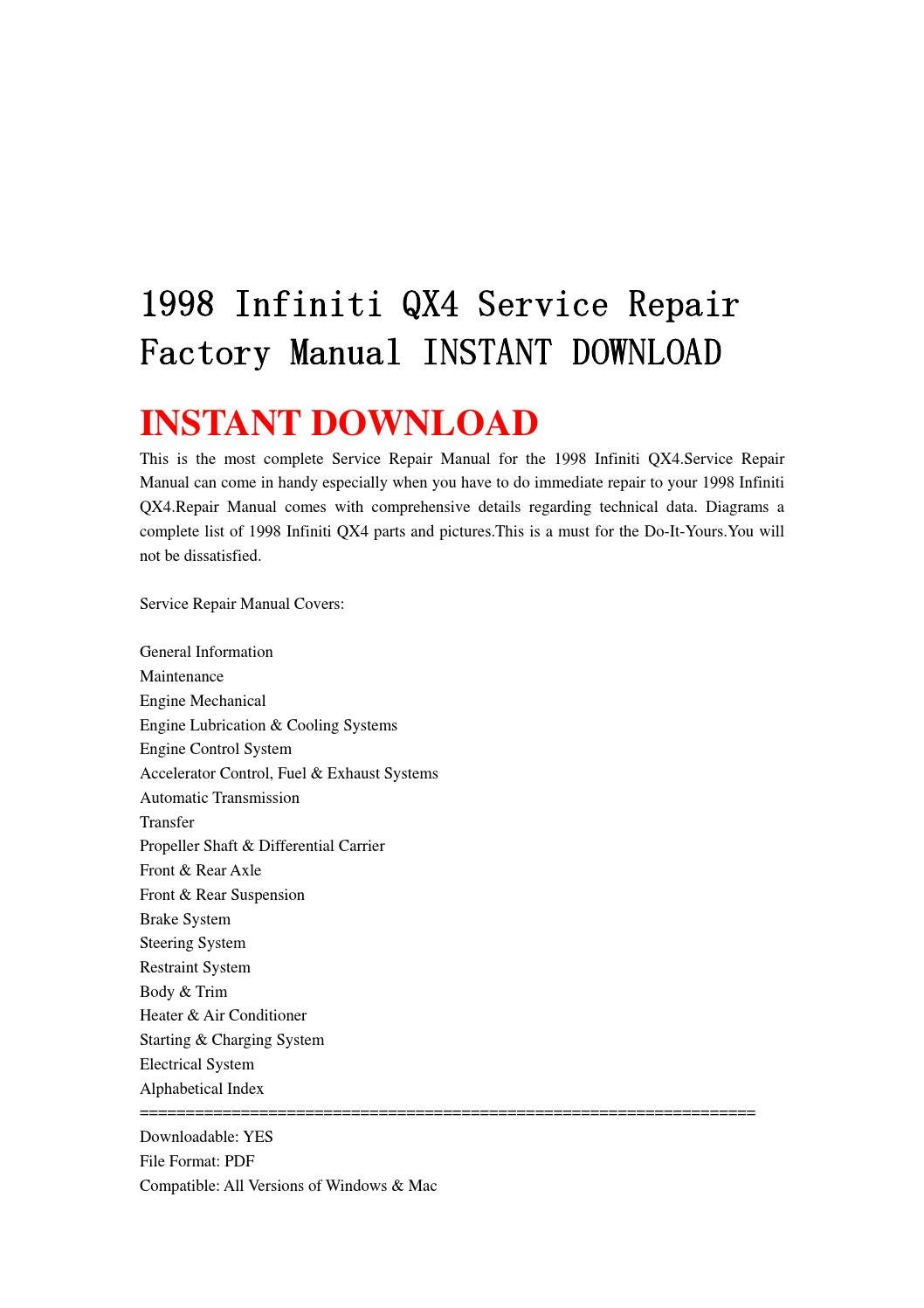 qx4 engine diagram cooling system wiring library E36 Engine Cooling System Diagram 1998 infiniti qx4 service repair factory manual instant download by jnshefjsne issuu