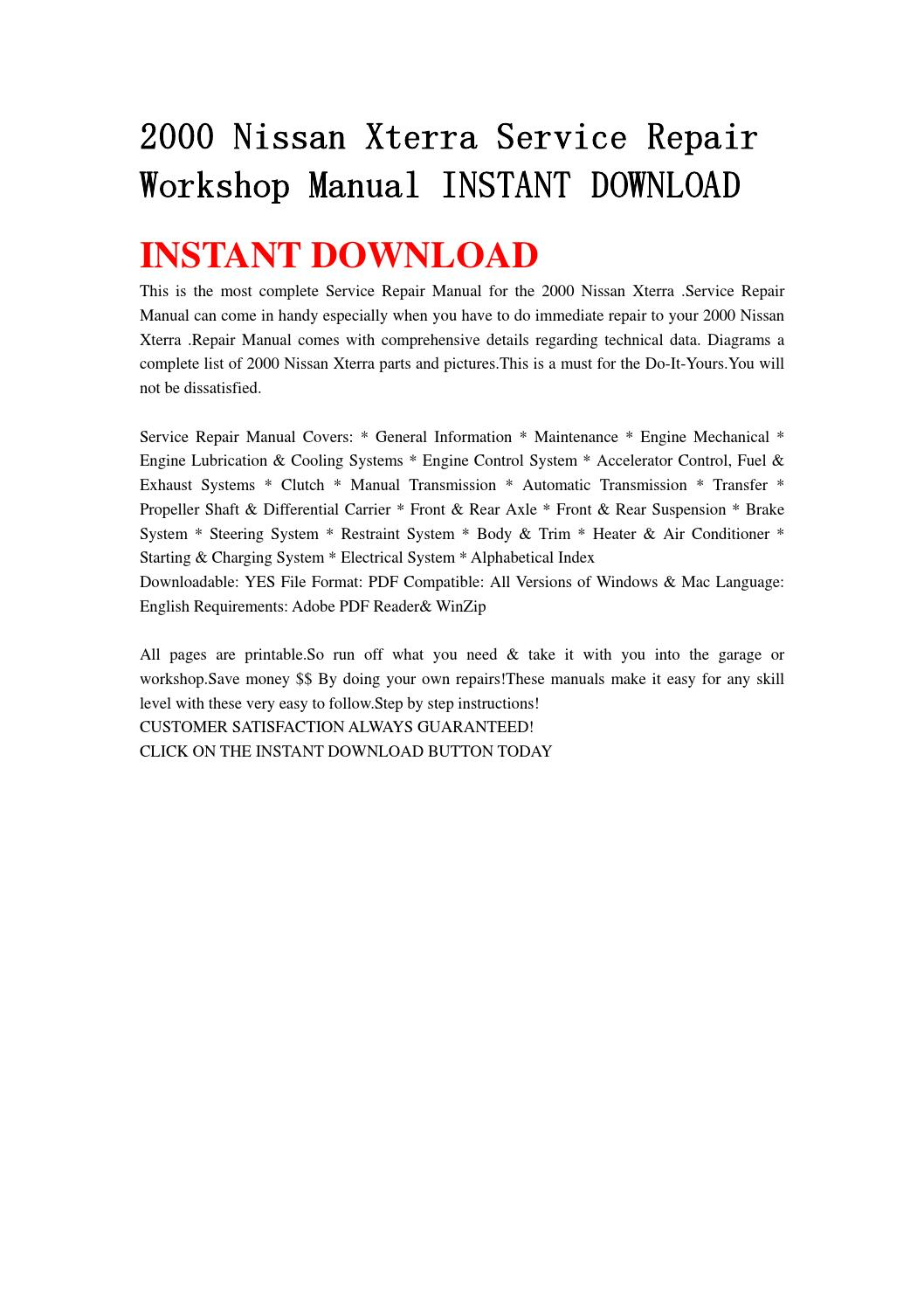 2000 nissan xterra service repair workshop manual instant download by  jnshefjsne - issuu
