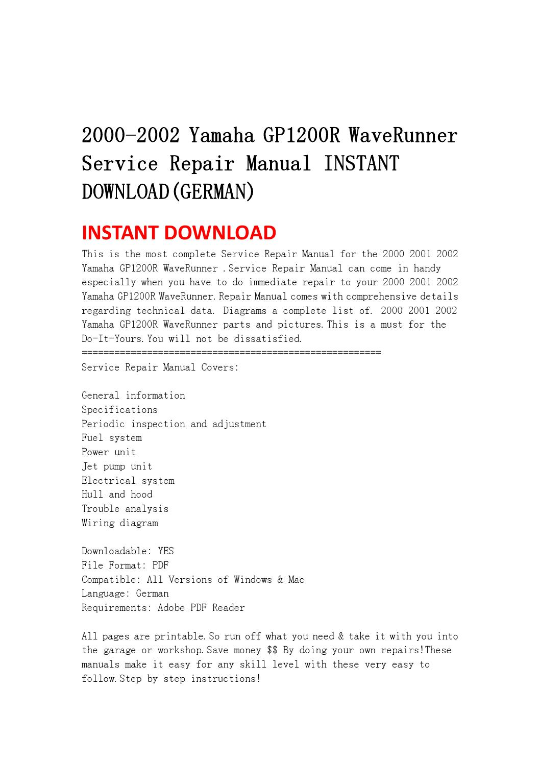 2000 2002 yamaha gp1200r waverunner service repair manual instant  download(german by jnshefjsne - issuu