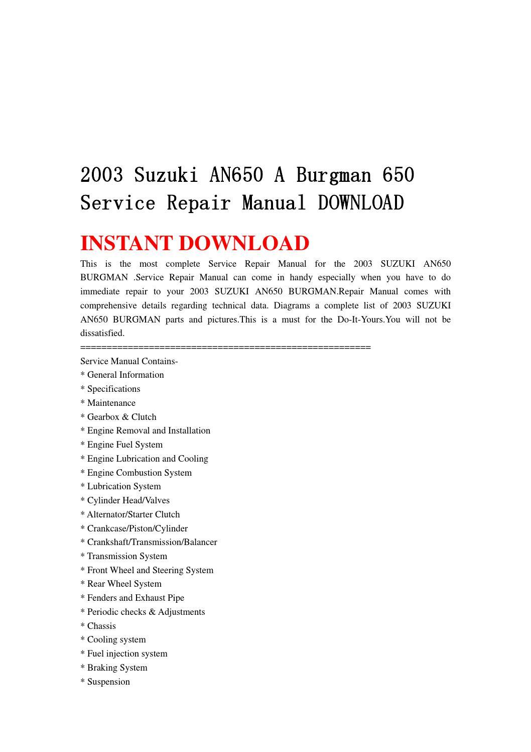 2003 suzuki an650 a burgman 650 service repair manual download by  jnshefjsne - issuu