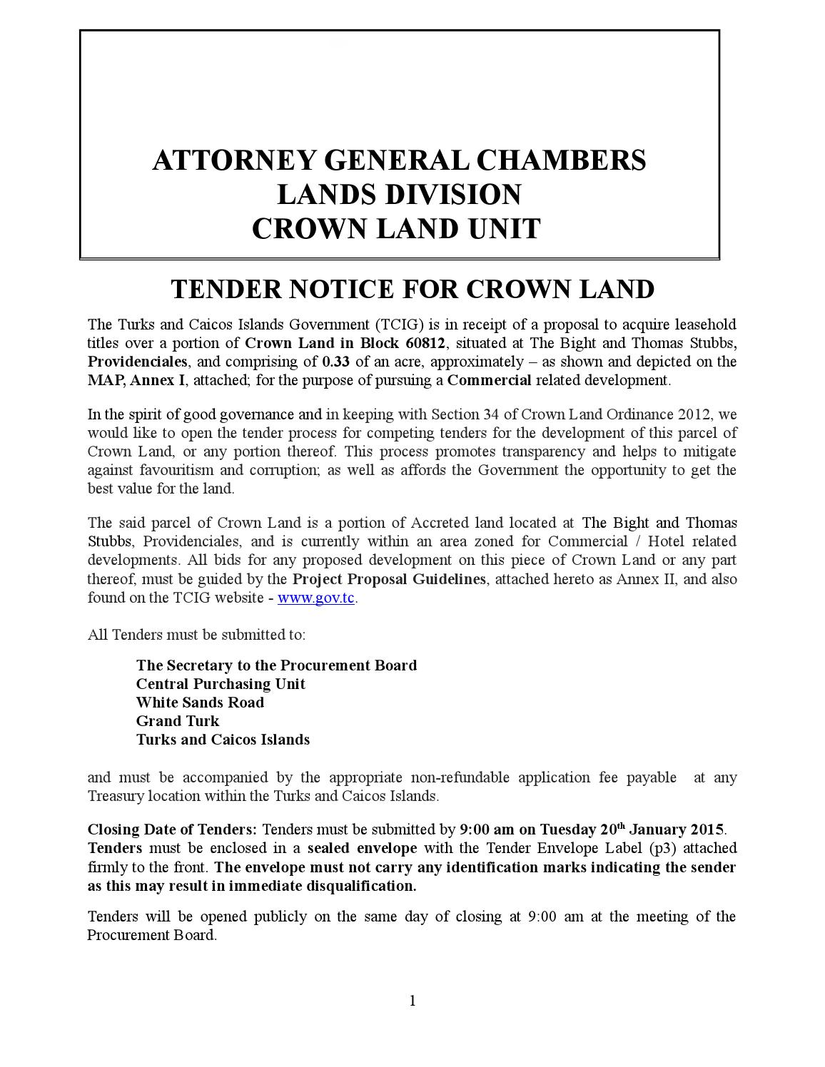 Tender notice crown land in block 60812(accreted land