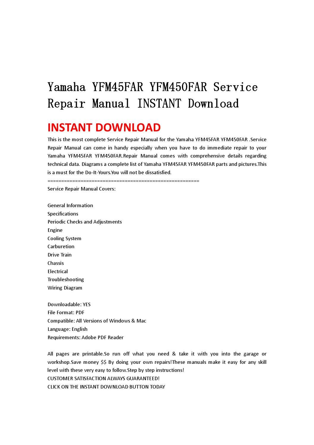 yamaha yfm45far yfm450far service repair manual instant. Black Bedroom Furniture Sets. Home Design Ideas
