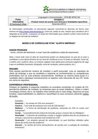 Modelo De Cv Alerta De Emprego Ficha By Carlos Andre Issuu